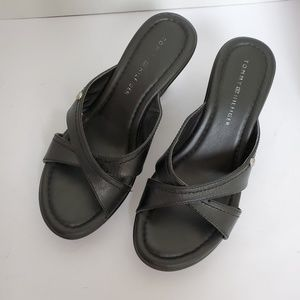 Tommy Hilfiger Black Kerry 2 Leather Wedge Sandal